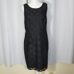 DKNY Black Circle Lace Sleeveless Sheath Dress